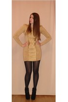 gold dress - black boots - black tights