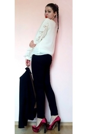 black Mango blazer - ivory blouse - black pants - ruby red new look pumps