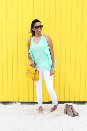 flowy Neptunes Boutiqe blouse - white Bebe jeans - peep toe JS Shoes heels