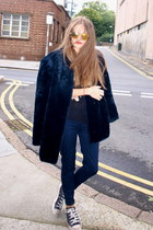 vintage Saint Laurent coat - H&amp;M sunglasses - H&amp;M jumper - Converse sneakers