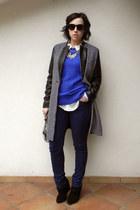 black Stradivarius boots - black wool pu leather PERSUNMALL coat