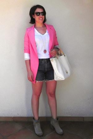 bubble gum OASAP blazer - navy denim shorts Levis shorts