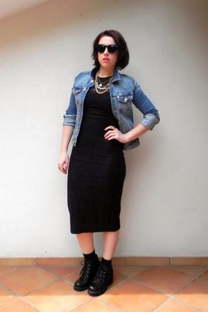 blue H&M jacket - black Kammi boots - black Zara dress