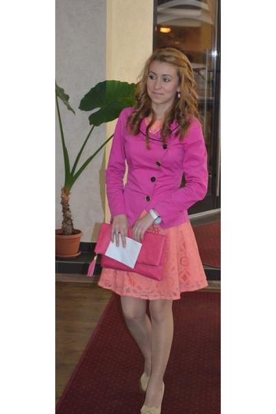 hot pink dress - neutral shoes - hot pink jacket - hot pink bag