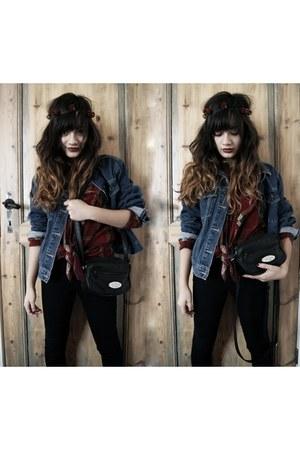 denim jacket vintage jacket - vintage blouse - hairband roses DIY accessories