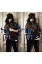 denim jacket vintage jacket - vintage blouse - hairband roses DIY accessories