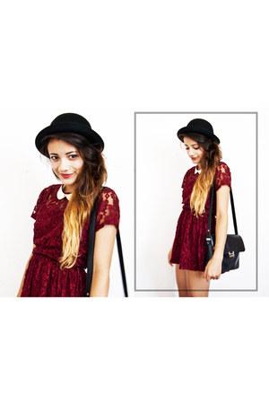 lace Forever 21 dress - H&M hat - vintage bag - Primark necklace