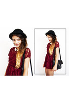 lace Forever 21 dress - H&M hat - vintage bag - Primark necklace