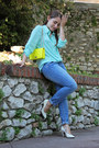 Turquoise-blue-h-m-jeans-aquamarine-unknown-shirt-yellow-unknown-bag