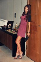 tan sequins Miss heels - maroon zipper Bershka dress - black chain purse