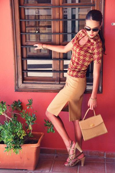 camel ostrich bag - camel pencil skirt Happening skirt