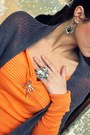 Orange-sweater-charcoal-gray-flowers-scarf-thrifted-gucci-purse
