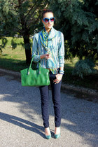 green vintage bag - navy skinny jeans Tally Weijl jeans - vintage stripes shirt