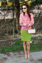 pink sweater - light pink vintage knitted scarf - eggshell Louis Vuitton purse