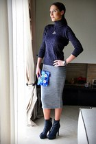 heather gray wool Pandemonium skirt - navy platform boots
