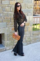 black vintage shirt - dark gray flared Zara jeans - tawny Jimmy Choo purse