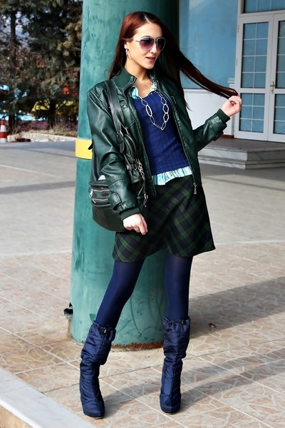 plaid skirt - navy heels boots - forest green leather jacket jacket