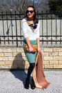 Black-tally-weijl-tights-bronze-jimmy-choo-purse-teal-wool-skirt