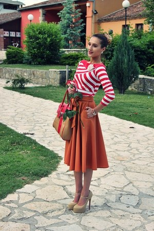 burnt orange vintage skirt - camel bag - tan platforms Sheinside heels