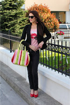 multicolored bag - black skinny jeans Tally Weijl jeans - black blazer
