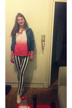 striped Sisters point jeans - leather jacket - lousy Primark shirt