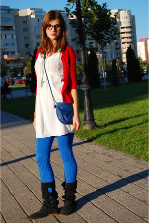 blue tights - black leather papucei boots - white H&M dress - red Zara jacket