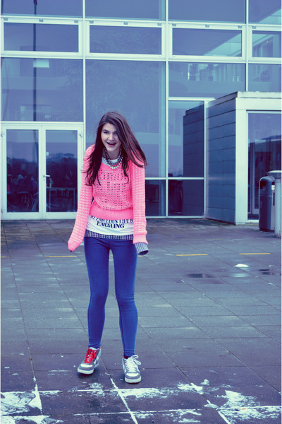 Gray Cardigan Hot Pink H&m