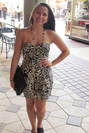 black shoes - eggshell dress - black bag