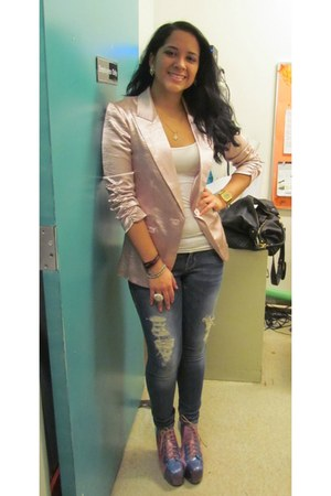 periwinkle boots - blue divine rights jeans - light pink blazer
