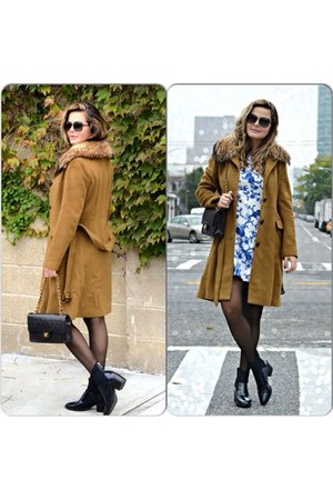 bronze Theory coat - Zara boots - Forever 21 dress - black Chanel bag