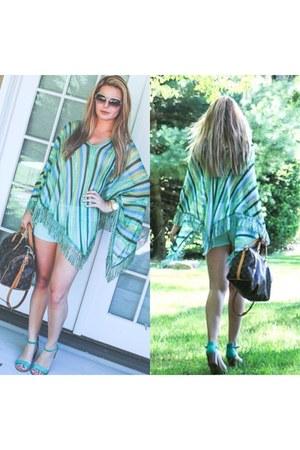 stretch Zara shorts - sunglasses - striped knit Missoni cape