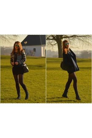 navy suede leather boots - navy Zara coat - navy Orsay blazer
