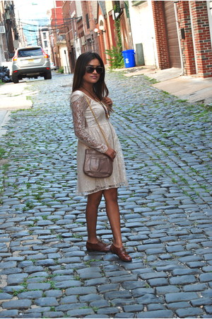 nude asos dress - Lauren Merkin bag - crimson Betsey Johnson sunglasses