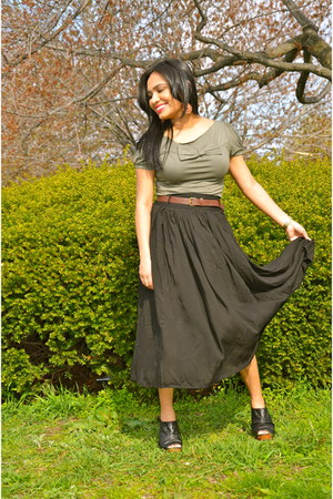 green bow Zara top - black maxi Forever 21 skirt