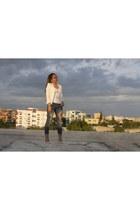 white H&M blouse - blue Mecca jeans - silver Schutz pumps