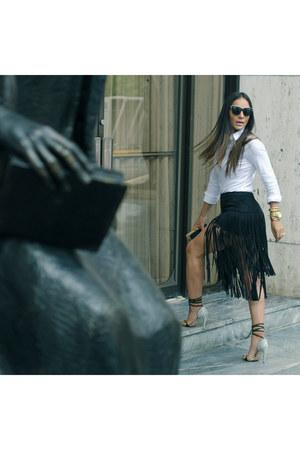 Zara shirt - Zara purse - dior sunglasses - Mafia skirt - Laulet heels