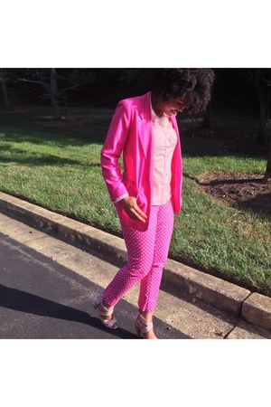 hot pink thrifted blazer - light pink DSW sandals - bubble gum Marshalls pants
