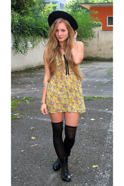 yellow dress - black shorts