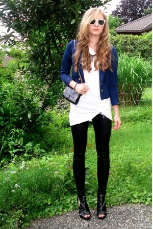 H&M blazer - shirt - leggings - purse - shoes - sunglasses
