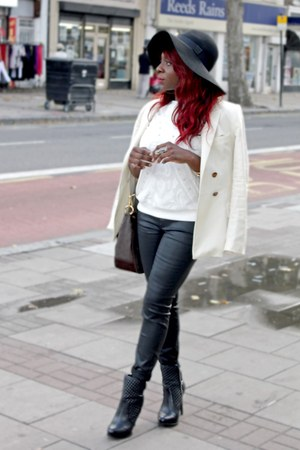 black floppy hat H&M hat - black quilted boots Zara boots