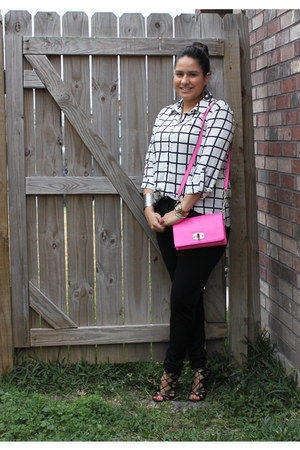 hot pink merona bag - black trousers KardashianKollecton pants