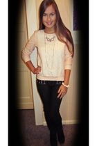 tk mexx sweater - blue jeans - pink Claires necklace - gold unknown necklace