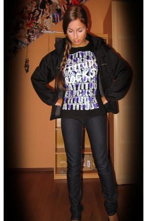 purple Madonna t-shirt - black c&a jacket - blue Mango jeans