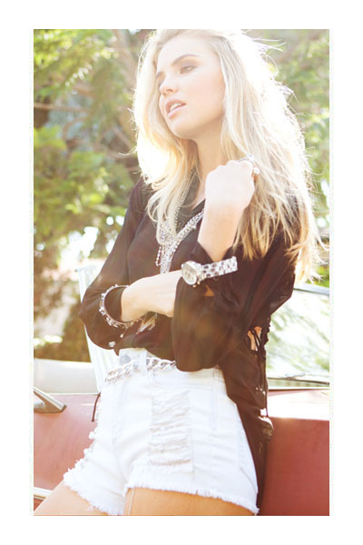 necklace - boots - shorts - bracelet - chain link belt - blouse