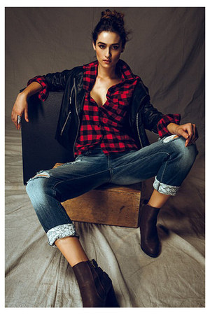 jacket - boots - jeans - top - ring