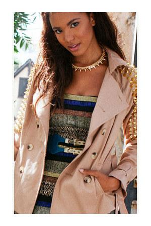dress - coat - belt - necklace - heels