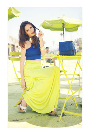 top - maxi skirt skirt - heels - bracelet