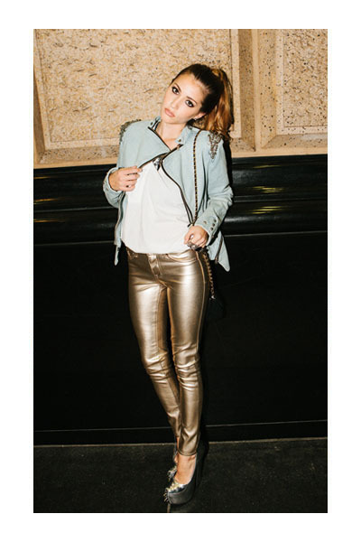 jacket - coated jeggings leggings - bag - t-shirt - necklace - heels