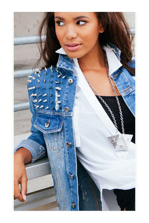 spiked denim jacket - leather leggings - draped chiffon top - basic tank top