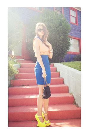 wedges - spike studded bag - sunglasses - skirt - two-tone collar top - bracelet